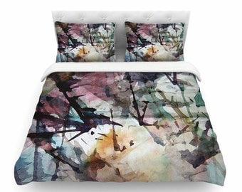 Pink and blue duvet cover,  Artistic duvet cover, Comforter, Unique duvet cover, Designer duvet cover, Abstract Trees, Art by Malia