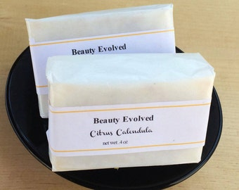 Natural Soap | Citrus Calendula: All Natural Handmade Cold Process Exfoliating Soap with Shea Butter -