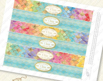 Rainbow Mermaid Printable Water Bottle Labels customized with gold effect waves pool party watercolor scales splash diy foil pdf glitter