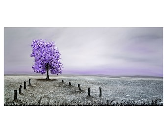 Boundless -  A Professional, Digital Print of my Sold, Award Winning, Acrylic Landscape Painting of a Purple Tree