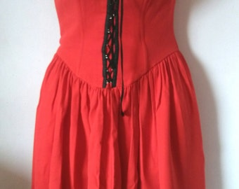 VTG bright red strapless dress 80's - 90's