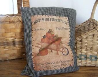 Primitive Black Homespun Pumpkin Patch Vintage Logo Pillow