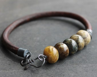Jade and leather mens bracelet mossy greens and earthy browns rugged bracelet Fathers day gift