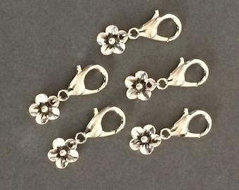 Crochet Stitch Markers - silver flower