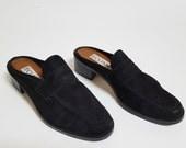 1980s Black Suede Slip on Heeled Mules / Womens 8