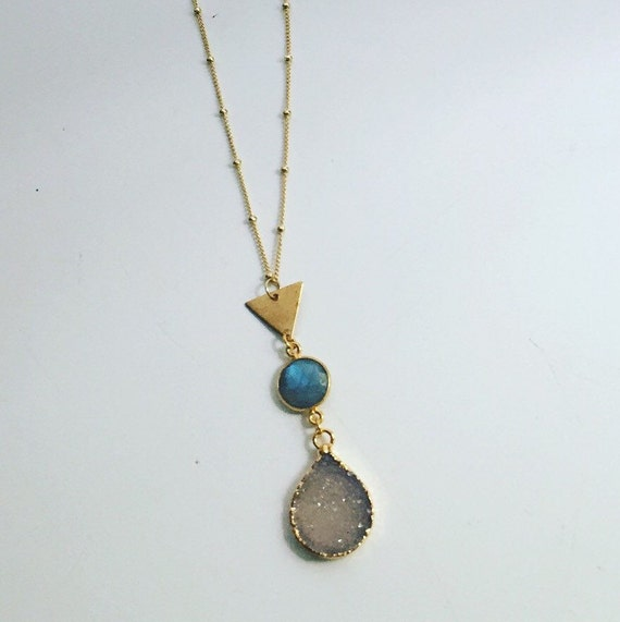 Druzy Triangle Necklace from Stitch And Stone