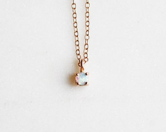 Tiny Opal Necklace in 14k Rose gold, Bridal Jewelry, Minimalist Pendant, Delicate Necklace, Birthstone