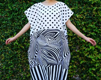 Vintage Revived Dress/ Kaftan Dress/ Vintage Revival of 1970s Kaftan/ Boho Dress/ Peasant Maxi Dress/ Tunic/ Black and White Dress/ Mod