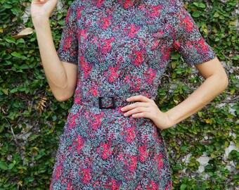 Vintage Dress/ 1980s Dress/ Vintage Japanese Dress/ Vintage Womens Dress/ Summer Dress/ Vintage Floral Dress/ Daisy Dress