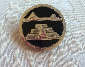 Ambers Vintage Mexican Sterling Silver Pyramid Brooch Pin Scenic Jewelry