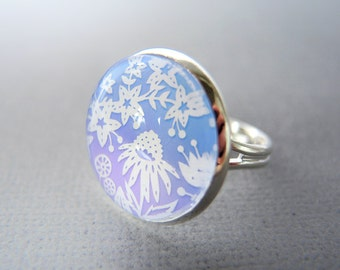 Ring - Papercut Illustration - Periwinkle Flowers -Adjustable Silver Ring