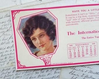 Beautiful Antique 1930's International Business School Advertising Ink Blotter | Advertisement | Flapper Girl, Lady Image | Calendar