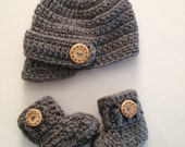 SALE Crochet Baby Hat and Boots, Baby Boy Coming Home Outfit, Newborn Visor Hat, Baby Boots,Crochet Boots,Newborn Photo Prop,Made To Order