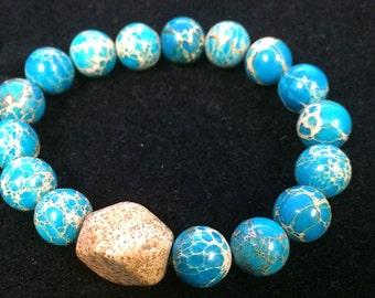 Blue Magnesite and Jasper Bracelet