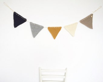 Knit Bunting Garland to Decorate Kids Room or use as Pregnancy Announcement Flags Anthracite Light Grey Yellow Ochre Off White Beige Button