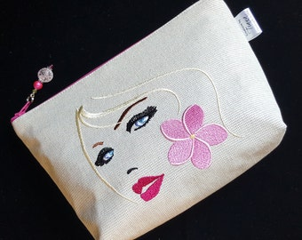 Embroidered Cosmetic Bag, Embroidered face, Makeup Bag, Purse, Pouch, Handmade, Canvas, Ready to Ship