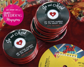 1950s VINYL RECORD design - Save the Date Magnets x 40