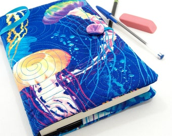 5 x 8 Inch Journal Cover, Fabric Diary, Quilted Moleskine Slipcover - Colorful Jellyfish Swirling on Blues Fabric Notebook Cover