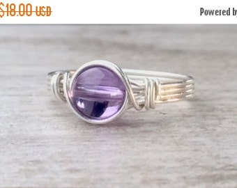 Fall Sale Amethyst ring, Silver wire wrapped amethyst ring, Amethyst wire wrapped ring, silver gemstone ring