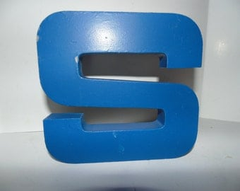 "Vintage Industrial Metal Marquee Letter S 6"" Wall Art Salvaged Decor Blue"