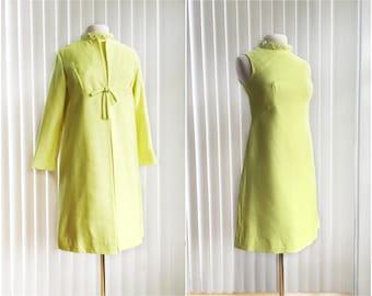 Vintage 60s lemon yellow dress set with coat/ pearl rhinestone collar/ mellow yellow shift dress/ Jackie O dress set