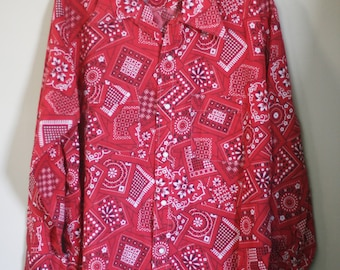 vintage mens western shirt red bandana print size XL