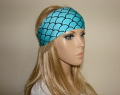 aqua blue workout headband - yoga headband - mermaid head wrap - bandana headband - girl hair band - woman fitness headband
