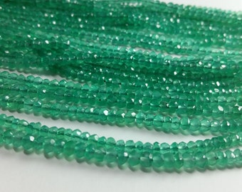 4mm Green Onyx Faceted Rondelle Gemstone Beads 4mm