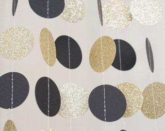 Black gold garland etsy for Gold dot garland