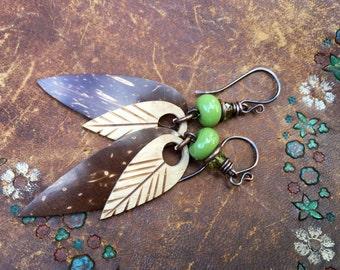 Rustic Coconut Skin Leaves 'Autumnal' earrings 251 - artisan carved coconut  leaf . nature leaves earrings . fall jewelry . artisan lampwork