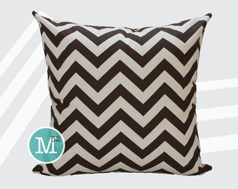 BrownChevron Pillow Cover - 12 x 12 - Zipper Closure