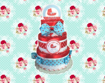 Red and Blue Polka Dot Baby Shower Diaper Cake