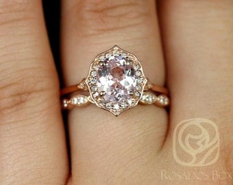 Mae 1.64cts & Christie 14kt Rose Gold Peachy Pink Spinel and Diamond Halo Wedding Set