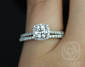 Rosados Box Samina 1/2ct 14kt White Gold Round Diamond Cushion Halo Wedding Set