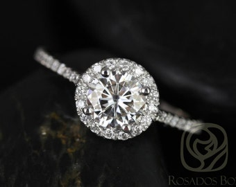 Kubian 6mm 14kt White Gold Round F1- Moissanite and Diamonds Halo Engagement Ring (Other metals and stone options available)