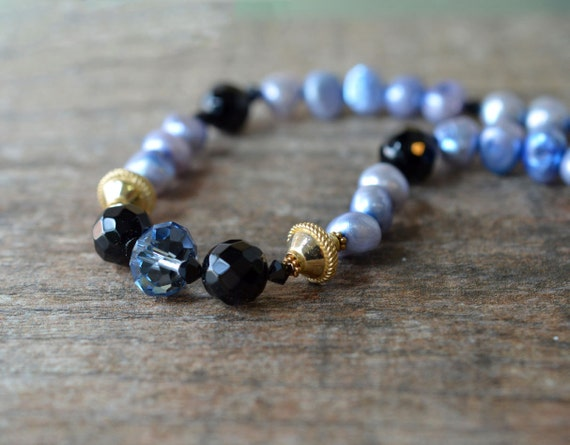 Sky blue crystal pearl necklace Gold vermeil black onyx semi precious stone bead necklace Blue freshwater pearl Office fashion pearl jewelry