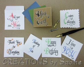 Gift Tags Mini Cards, Custom Calligraphy Card Set of 6 Handwritten Personalized Original Art Greeting Card / hand drawn / Small Square
