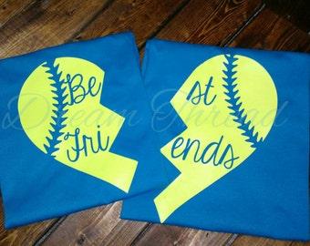 Best friends softball tees, softball, baseball, sports, best buds, (made to order)