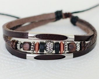 448 Brown leather bracelet Charm bracelet Beads and Rings bracelet Men bracelet Women bracelet Leather jewelry Bracelet for men and women