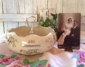 Vintage Porcelain Bowl 25th Anniversary Handled Platinum Silver Handled Serving Commemorative Collectible Glassware Celebration Souvenir