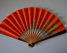Hand fan, lacquered bamboo and paper, Japanese tea ceremony sensu