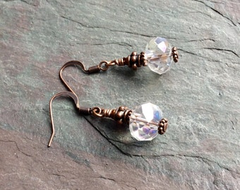 "Clear Crystal Earrings / One-of-a-Kind / Antique Copper / Bead / Drop / Dangle / Faceted - 1 1/2"" long - E 29"