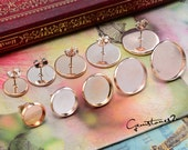 20pcs Rose Gold Plated 8mm / 10mm / 12mm / 14mm  / 16mm / 18mm / 20mm Brass Earring Posts With Round Pad