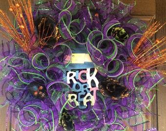 SALE. Trick or Treat Wreath, Halloween Wreath,