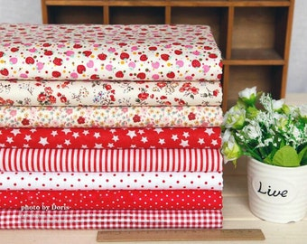 8 pieces Red Group Series Color collection Cotton Cloth  Quilt Fabric-DIY Handmade Fabric Cloth