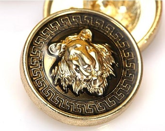6 pcs 0.67~0.87 inch High-grade Gold Lion Head Metal Shank Buttons for Coats Sweaters