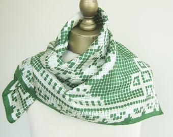 Vintage silk scarf, 1950s scarves, green silk scarf, old Echo scarf, flower urn, square  scarf, hair scarf, mod scarf