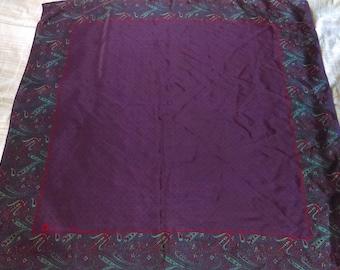 Anne Klein Purple Paisley Silk Vintage Scarf
