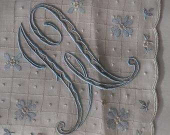 Antique Handkerchief White Linen 1940s