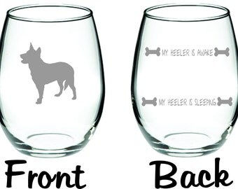 Blue Heeler Cattle Dog Glass  Funny Choose From Stemless Wine, Wine, Beer Mugs, Pub, Coffee and More